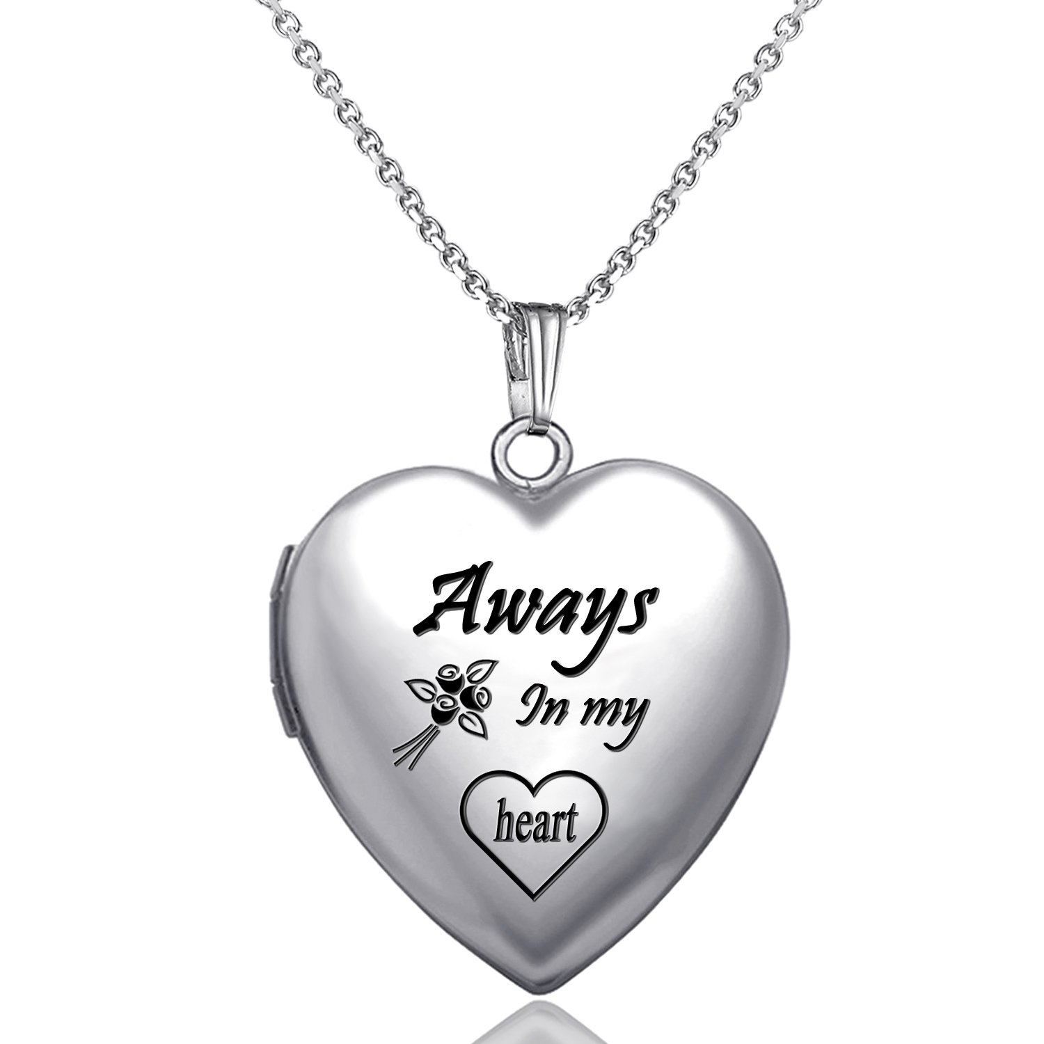 YOUFENG Love Heart Locket Necklace That Holds Pictures Engraved Always in My Heart Memories Photo Lockets (Heart Locket Necklace)