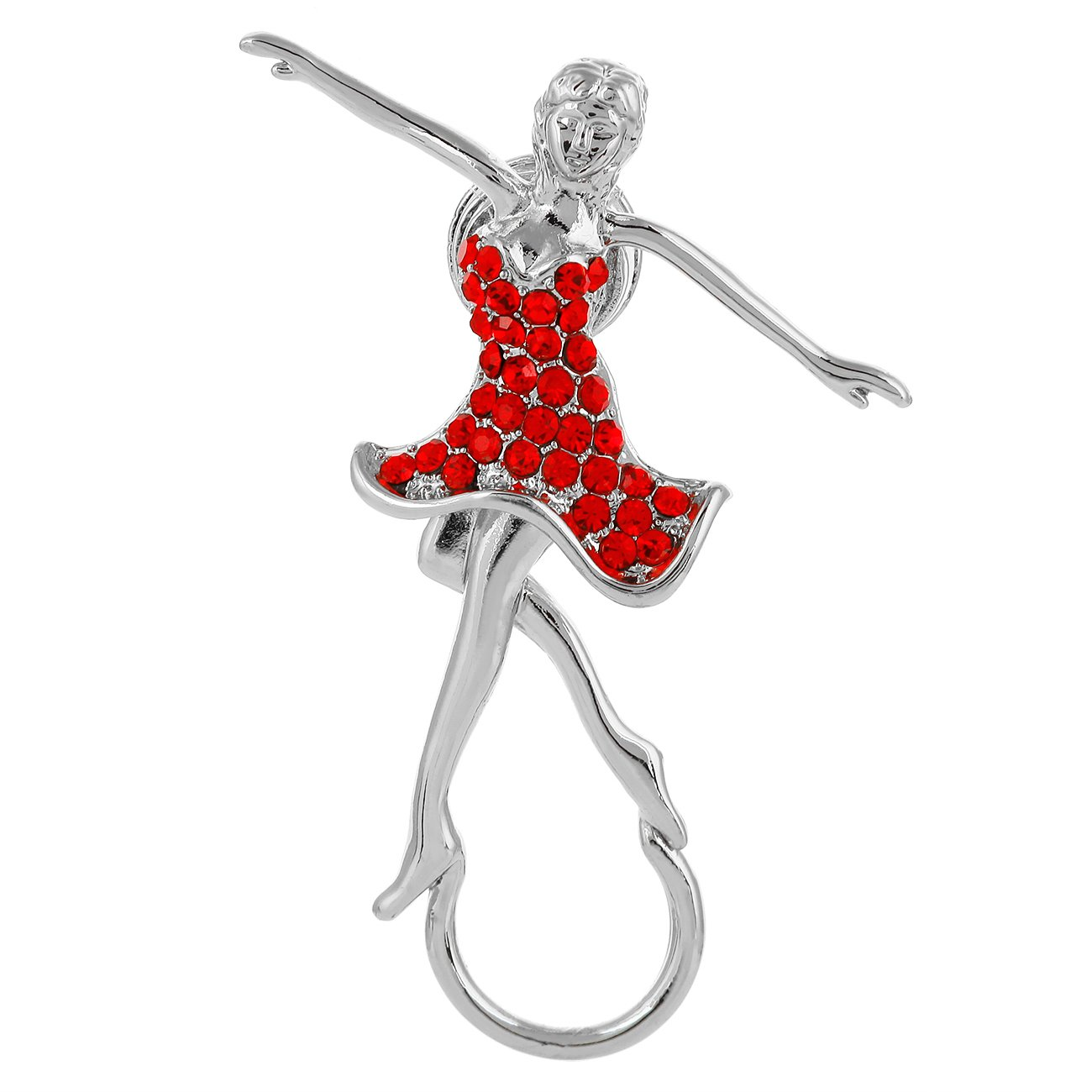 RUXIANG Dancing Girl Wear Red Crystal Dress Magnetic Glasses Holder Brooch Pin Clothes Jewelry (silver)