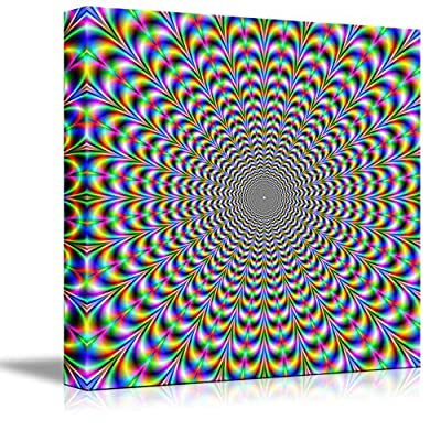 Canvas Prints Wall Art - Holographic Optical Illusion Spiral Rainbow | Modern Wall Decor/Home Decoration Stretched Gallery Canvas Wrap Giclee Print. Ready to Hang - 24