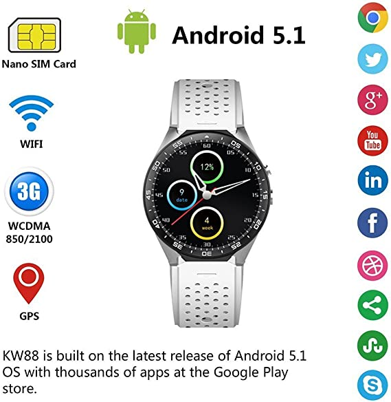 GH Brothers Smart Watch Cell Phone Andriod OS 5.1Ver Transflective Display - White