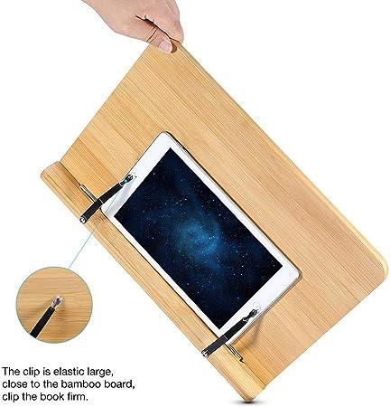 GOTOTP Atril para Libros y Soporte de Tablets con Respaldo Ajustable,Bamb/ú Natural,para Leer,Ver Videos,Estudiar,39x27cm