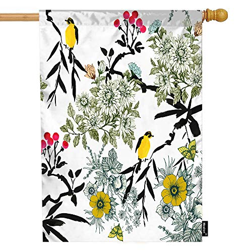 Butterfly Meadow Leaf - Moslion Bird House Flag Nature Blooming Meadow Flowers Leaves Rowan Birds Butterfly Garden Flags 28x40 Inch Double-Sided Banner Welcome Yard Flag Home Outdoor Decor. Lawn Villa