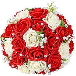 Wedding Bridal Bouquet, Febou Wedding Bride Bouquet, Wedding Holding Bouquet with Artificial Roses Lace Heart Pearl Ribbon, Perfect for Wedding Party and Home Decor , Red+White