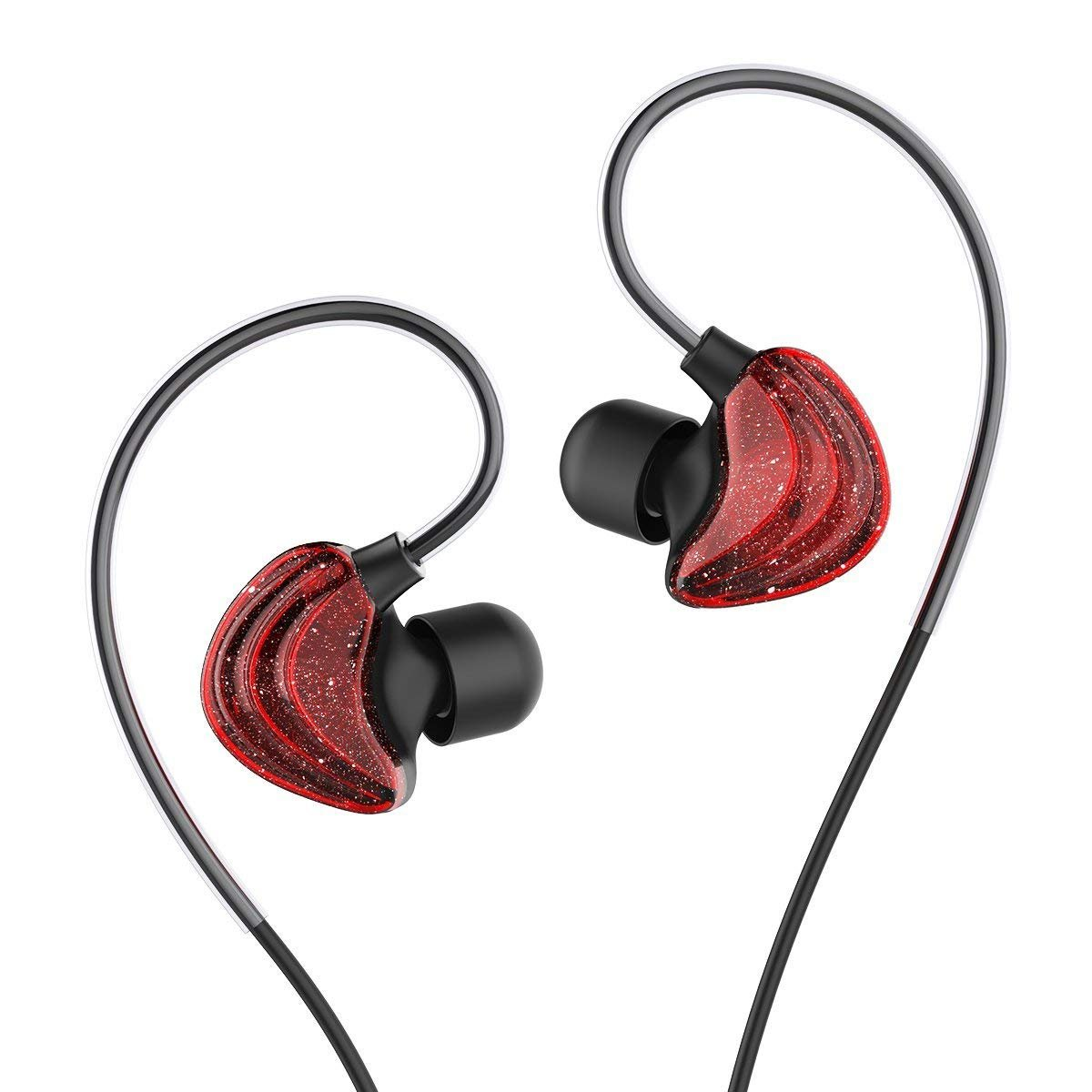 In Ear Earphones, UiiSii CM5 Sports Headphones with Mic and Remote, Comfortable Graphene Coaxial Design, and Stereo Bass Earbuds For Gym Running(Red)