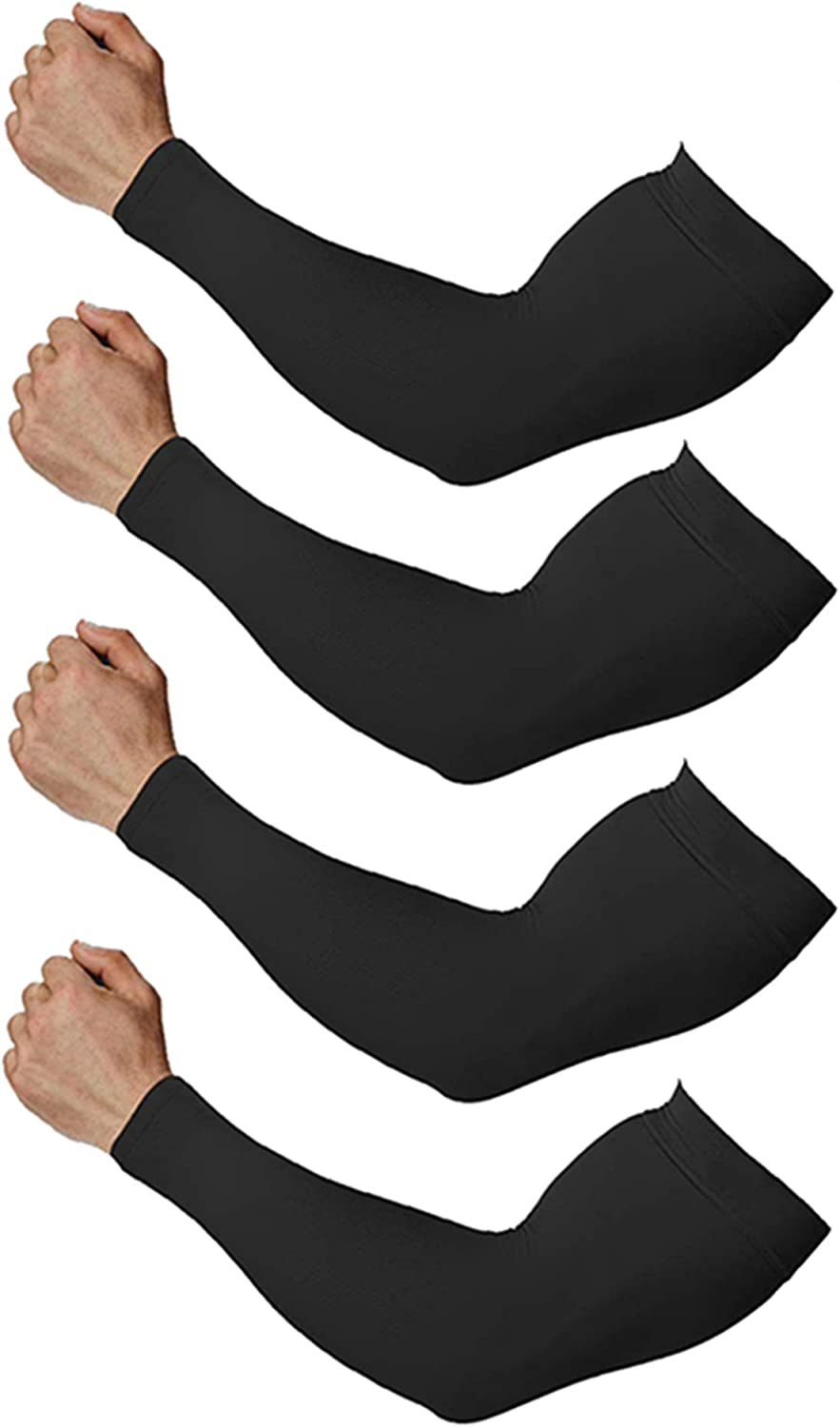 Arm Sleeves for Men and Women, UV Protection Cooling Arm Sleeves, 4-Pairs Anti-Slip Compression Sun Sleeves