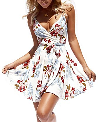 06e54b06e907 casuress Women Dress Summer V Neck Mini Floral Print Swing Dress Sleeveless Spaghetti  Strap Skater Dresses with Belt at Amazon Women s Clothing store