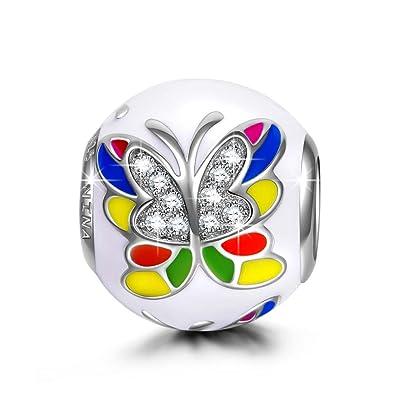 533e15b102ee NINAQUEEN Mariposa Mujer Abalorio Día de la madre Charm Plata 925  Compatible con la Pulsera de charms Joyas Regalo para ...