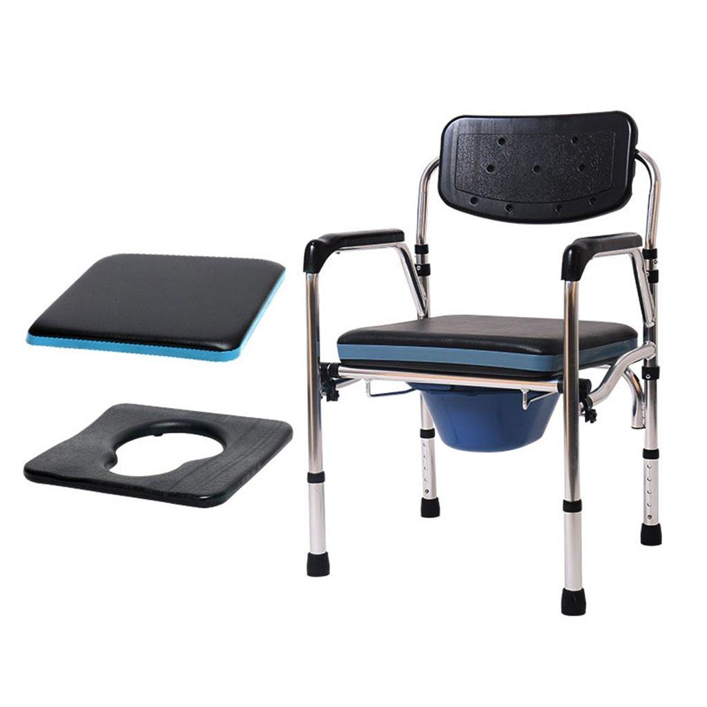 柔らかく快適な妊娠中の女性便器椅子パッド入り調節可能な高さアルミニウム合金障害者ノンスリップ防水シャワースツール便座高齢者トイレチェア最大180kg B07DHHS7HF