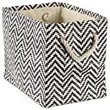 "DII Woven Paper Storage Basket or Bin, Collapsible & Convenient Home Organization Solution for Office, Bedroom, Closet, Toys, & Laundry (Small - 11x10x9""), Black Chevron"