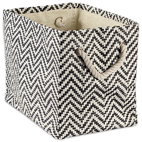 "DII Woven Paper Storage Basket or Bin, Collapsible & Convenient Home Organization Solution for Office, Bedroom, Closet, Toys, & Laundry (Medium – 15x10x12""), Black Chevron - Print Medium Storage Bin"