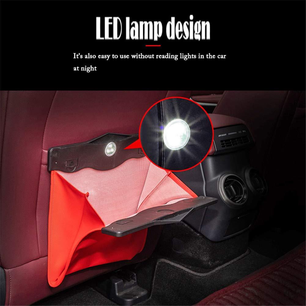 archiviazione universale LED seggiolino auto sacco della spazzatura pattume indietro storage box attaccatura del sacchetto,Black Cestino per Spazzatura da Auto