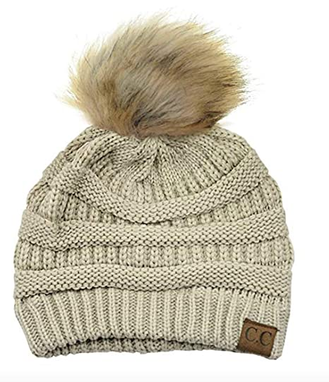 Motobear Women s CC Soft Stretch Cable Knit Fur Pom Pom Beanie Hat (Beige)   Amazon.ca  Clothing   Accessories 339be79fa5