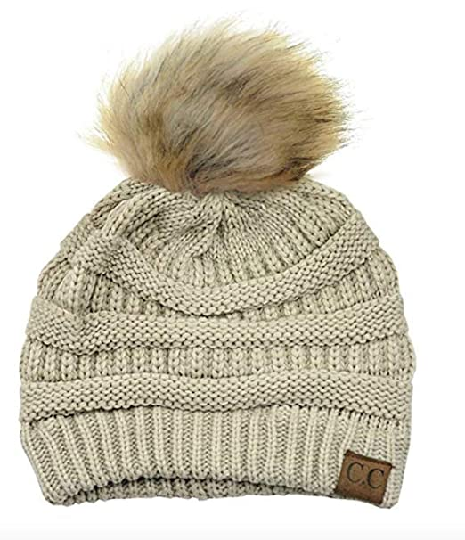de4d7669b8d1e Motobear Women s Exclusives Beanie Soft Stretch Cable Knit Pom Pom Beanie  Hat (Beige) at Amazon Women s Clothing store
