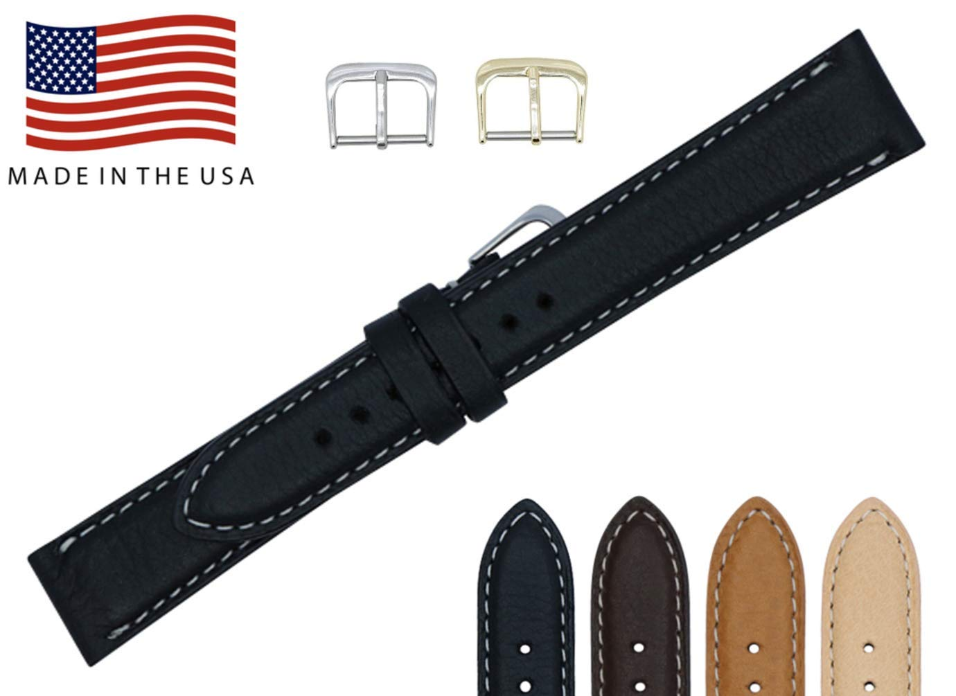 22mm Black Soft Genuine Leather Watch Strap Band – American Factory Direct - Gold & Silver Buckles Included – Contrast Stitch - Made in USA by Real Leather Creations PAD CS FBA106