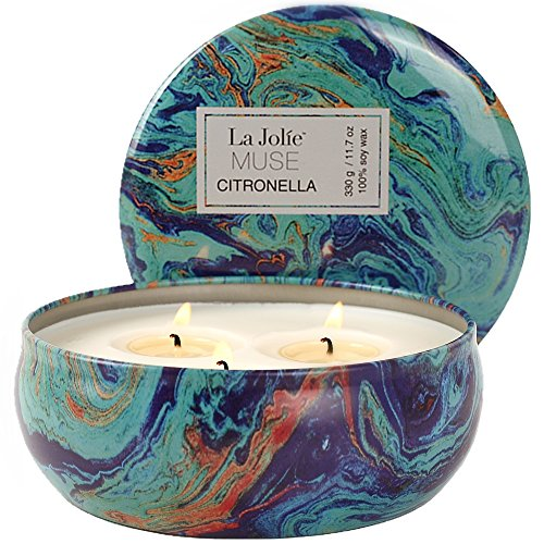 Citronella Candles Scented Soy Wax 3 Wick Tin, 70 Hour Burn, Natural Mosquito Repels, Outdoor and Indoor