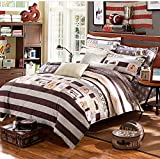 Andreannie ®Full Size 4pc Bedding Sets European Style Retro Bike Ornaments And Geometric Stripes Cross Print Cotton Material Duvet Cover Sets Both Sides Print Without Comforter (Maroon)