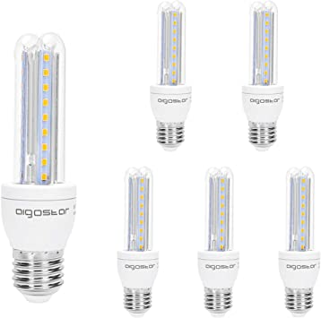 Aigostar - Pack de 5 Bombillas LED T3 2U 8W, E27 casquillo gordo ...