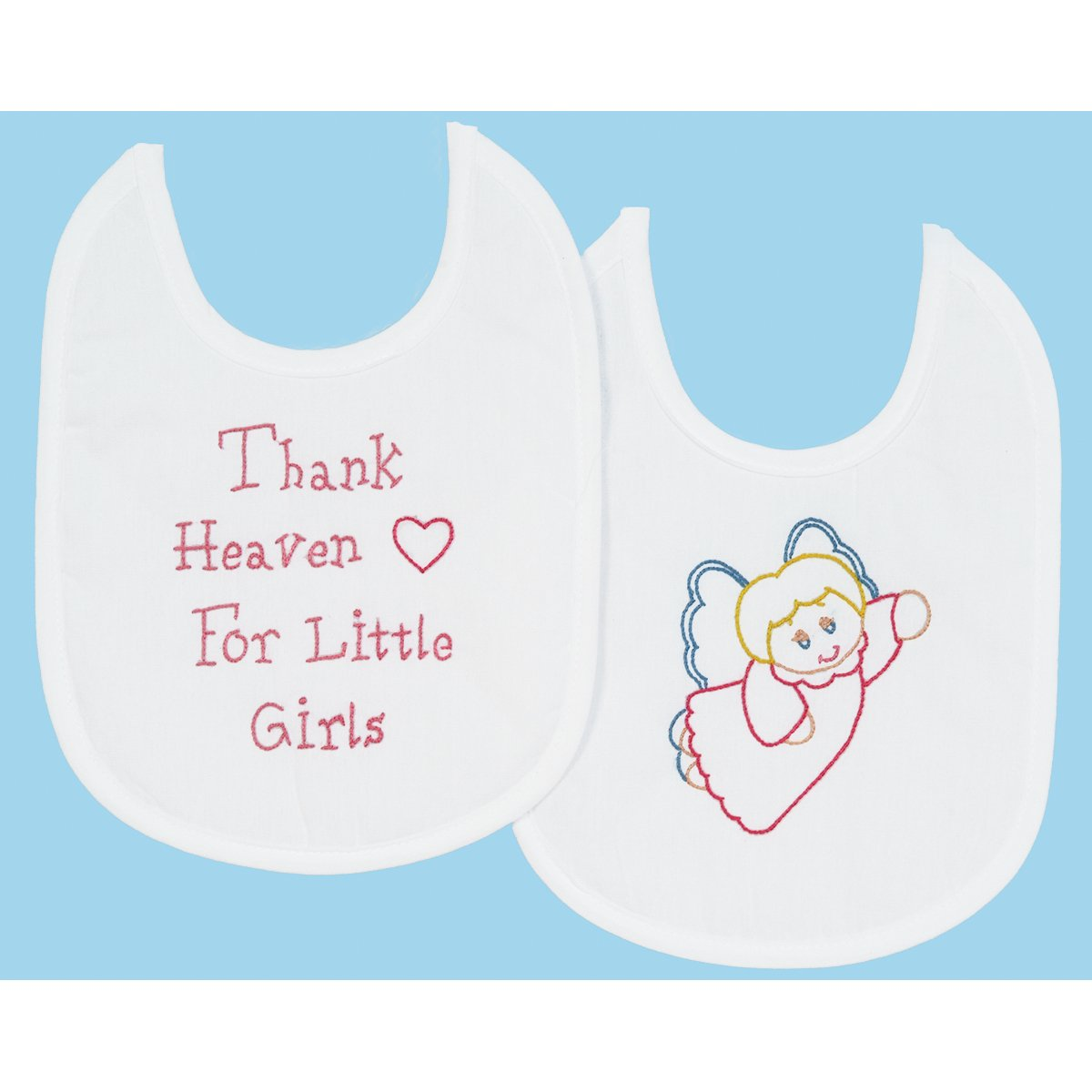 Stamped White Bibs 7-1-2X10 2-Pkg-Thank Heaven Girls