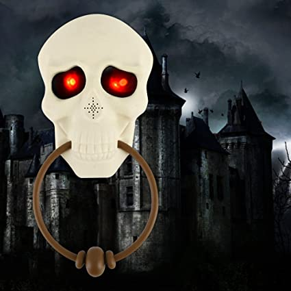 halloween props doorbell scary door decorations with red eyes light up and ghostly sounds for haunted