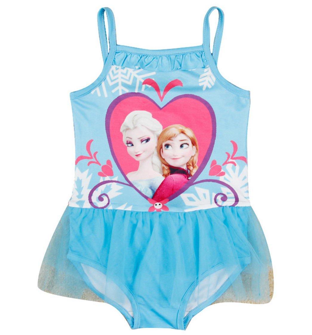 Snow Queen Little Girls Cartoon Milk Silk Swimsuits 2-8Y Azure 4 (3/4Y) Tiful