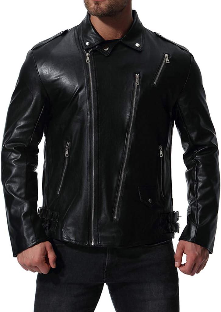 MAKAFJ Chaqueta de Moto para Hombre Chaqueta de Invierno Casual desgastada Chaqueta de Cuero Chaqueta de protección de Carreras Moda Solapa a Prueba de Viento Abrigo de Gran tamaño,Black-L