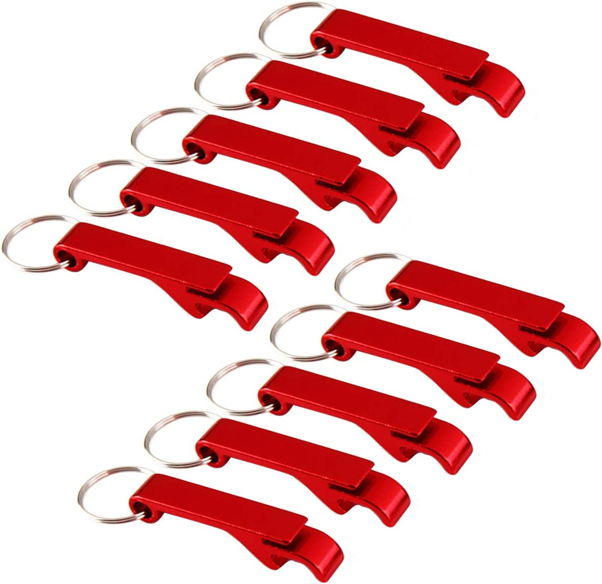 IDOXE 10pcs Aluminum Black Bottle Opener Keychain Beer Pocket Bulk for Men Women Helper for Wedding Kitchen Gift (Red 10pcs)