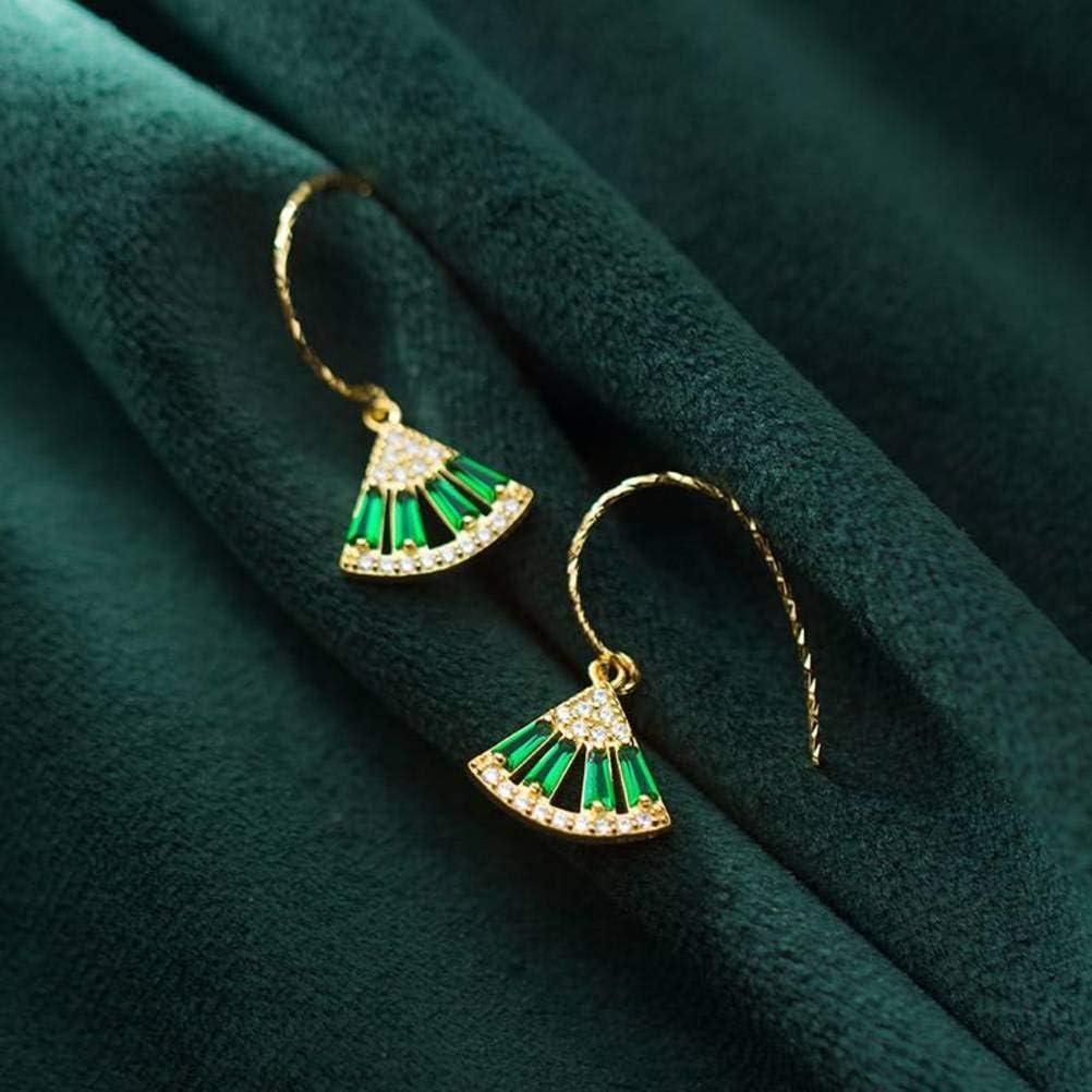 S&RL S925 Pendientes de Plata Corea de Las Mujeres Pequeño Y Fresco en Forma de Abanico de Orejas de Diamantes Esmeralda Joyería Mujer JoyeríaPendientes de plata S925