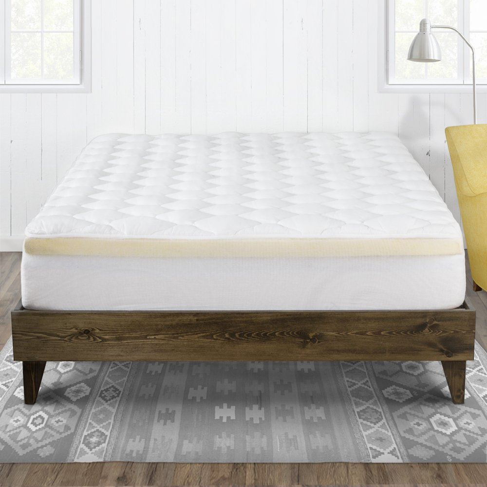 eLuxurySupply Bamboo Extra Thick Mattress Topper with Fitted Skirt