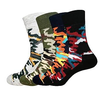 Yuccer Calcetines de Colores Hombre, 4 Pares Calcetines Fantasia Hombre Calcetines Hombre Divertidos Algodon