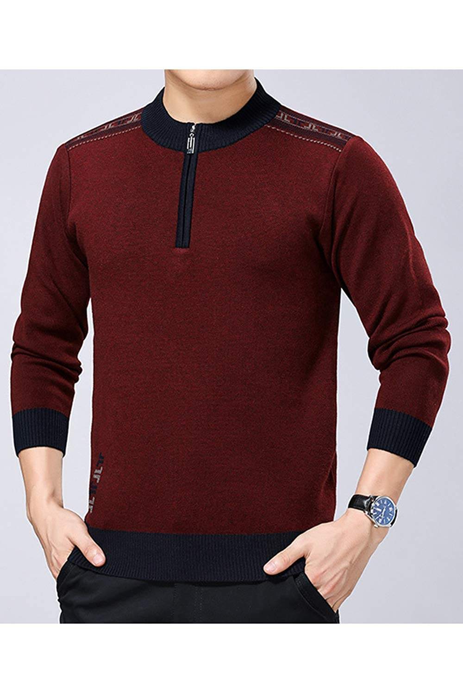 Men Half Zip Pullover Casual Long Sleeve Knit Sweater Tops