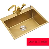 Kitchen Sinks Kitchen Sink Gold Stainless Steel Rectangular Sink Restaurant Bar Sink Kitchen Sink Sink Household Easy to Clean Sink Gift