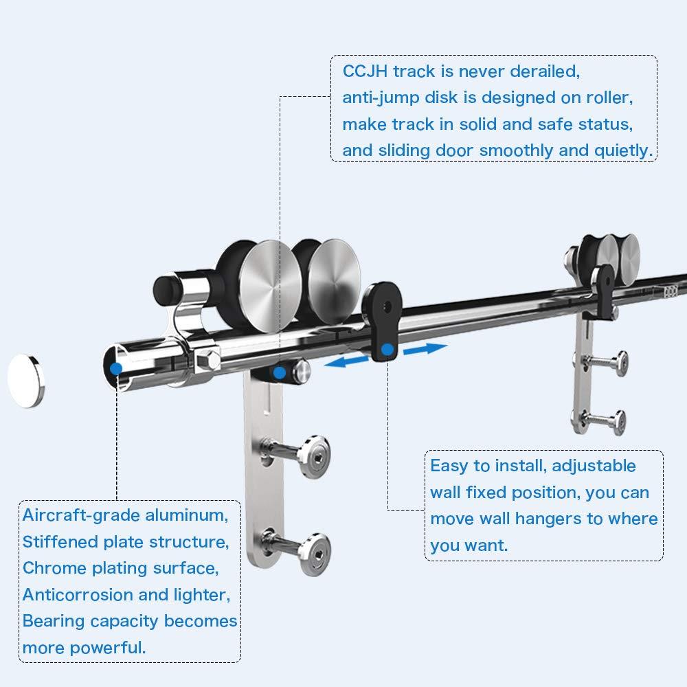 CCJH 9FT-275cm Acier Inoxydable Quincaillerie Kit de Rail Roulette pour Porte Coulissante Ensemble Industriel Hardware kit pour Deux Portes Suspendue en Bois