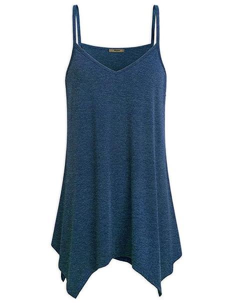 OHQ_Camisetas Verano para Mujer Blusa con Cuello En V Flojo De Las Blusas del Verano De