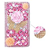 Spritech(TM) 3D Handmade Bling Pink Diamond Design Case Luxury PU Leather Wallet Case Flip Cover with Card Slots...