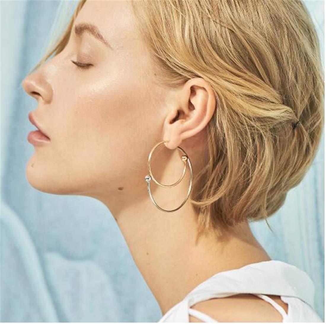 Tmrow 1pair Geometric Stud Earrings Double Sytle Circle Stud Earrings Jewelry For Women,1#