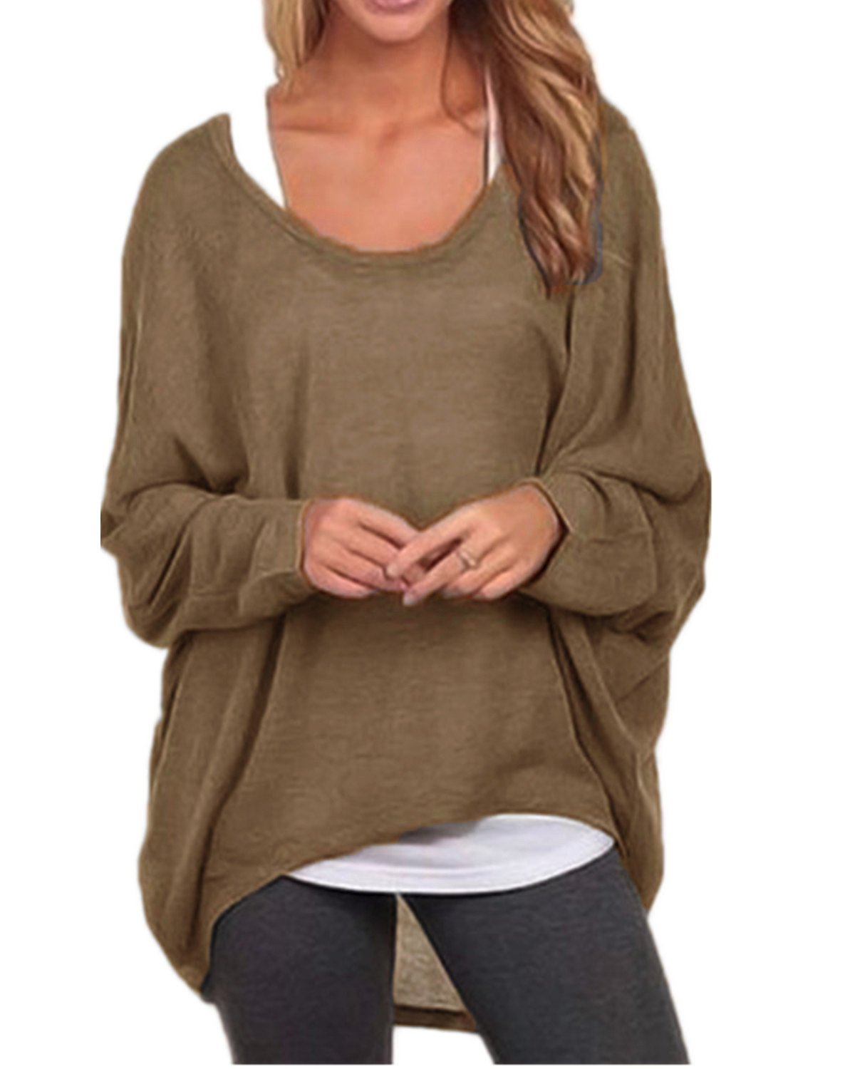 ZANZEA Women's Long Batwing Sleeve Loose Oversize Pullover Sweater Top Blouse Brown US 12/Tag Size XL