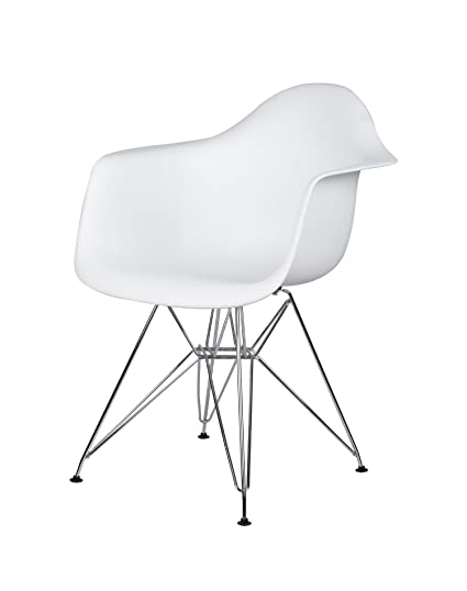 Marvelous Gia Dar White 1 Arm Plastic Chair With Metal Leg 1 Pack Chrome Caraccident5 Cool Chair Designs And Ideas Caraccident5Info