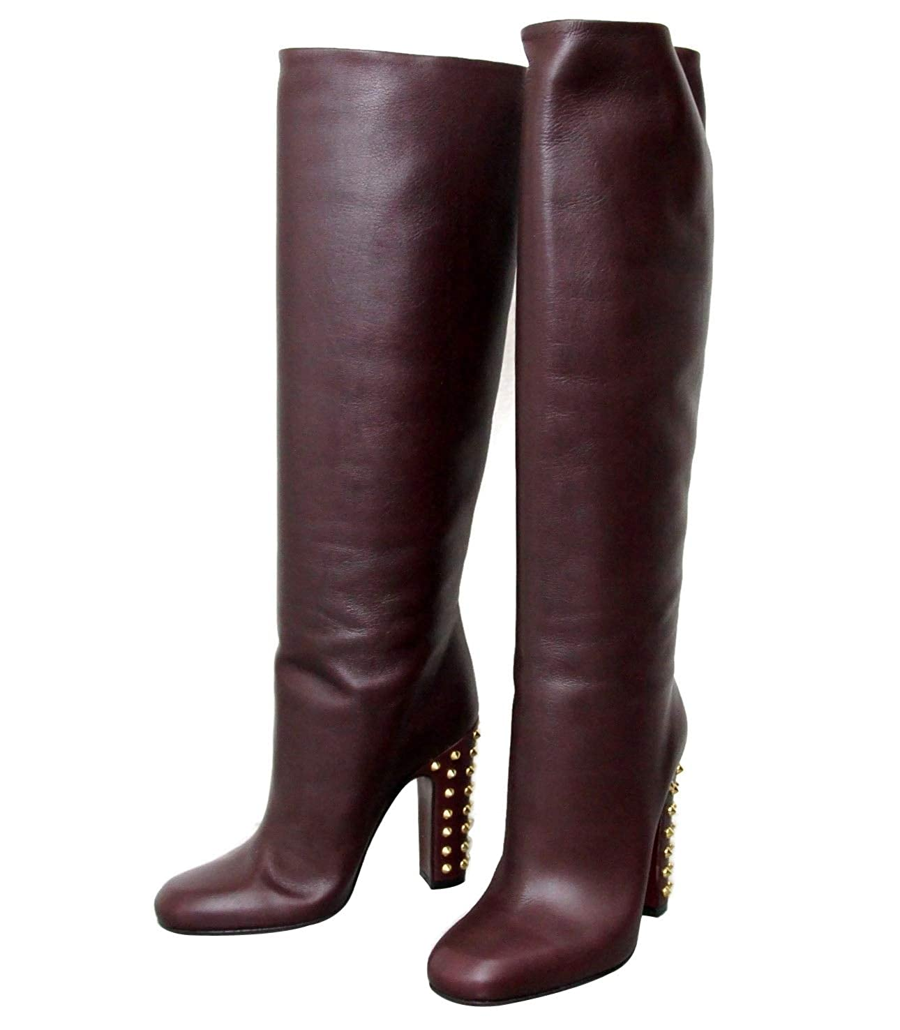 dcd198f32 Amazon.com | Gucci Women's Leather Knee High Studded Jacquelyne Tall Boots  297199 | Knee-High