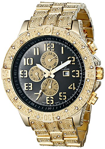 Joshua & Sons Men's JS78YG Swiss Quartz Multifunction Black Dial Gold-tone Bracelet Watch