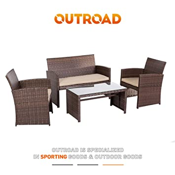 Outroad Patio Conversation Set 4 Piece Brown Wicker Furniture Sofa W Cushioned Love Seat Table With Glass Top
