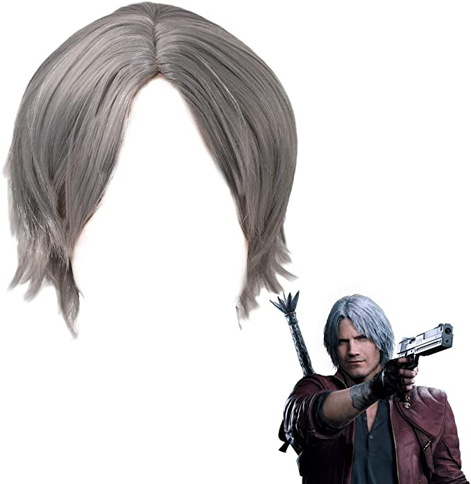 Devil May Cry 5 Dante Wigs Short Grey Silver Dmc 5 Game Anime Hair Cosplay Accessories For Men