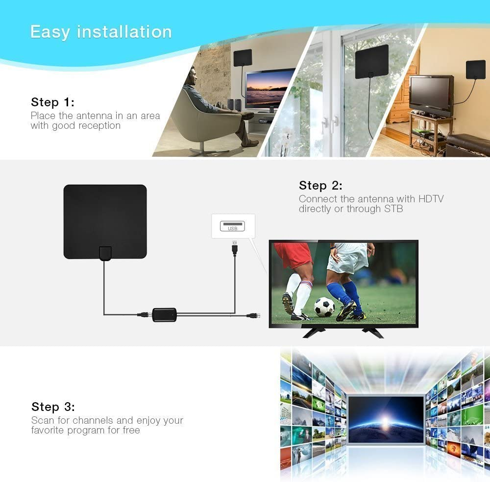 Antena Interior HDTV, ANCORA Ultra Plana Antena Interior DVB-T Mayor Rango de Recepción de 5O Miles/80 KM con 13FT/4M de Cables de Alto Rendimiento - ...