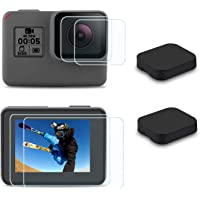 FitStill Screen Protector for GoPro Hero 7(Only Black)/Hero HD(2018)/Hero 5/Hero 6, Ultra Clear Tempered Glass Screen Protector + Lens Protector + Lens Cap Cover Accessories