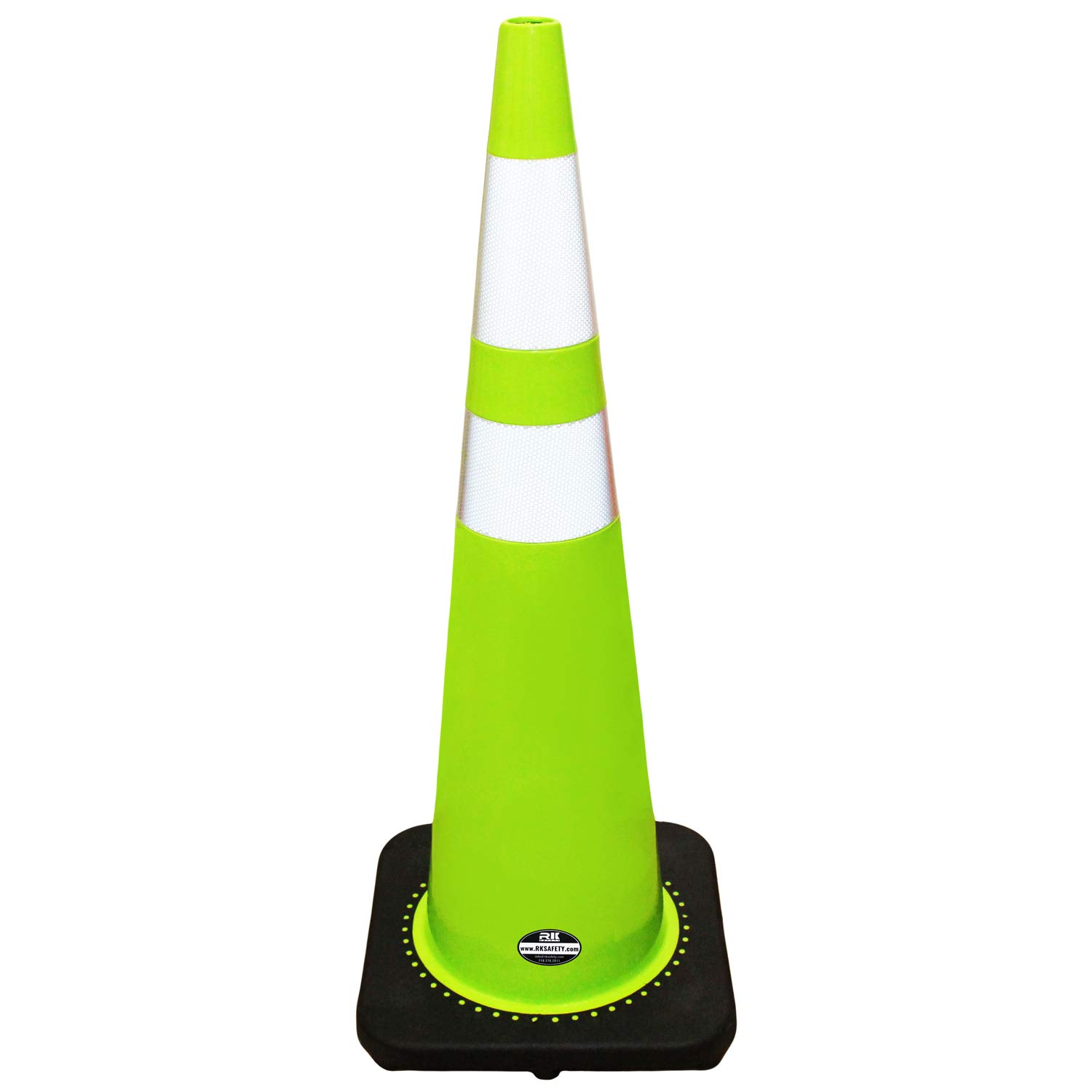 (Set of 6) 36'' RK Lime Safety Traffic PVC Cones with Black Base with Two Relective Collars