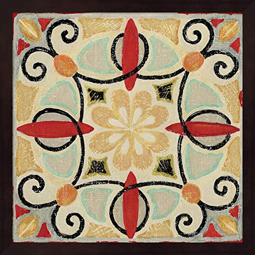 Bohemian Rooster Tile Square II by Daphne Brissonnet Fine Art Print with Wood Box Frame and Glass Cover, 15 x 15 inches