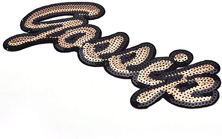 GIRL letters Patches Iron On Sequin Embroidered Applique DIY Garment Ornaments