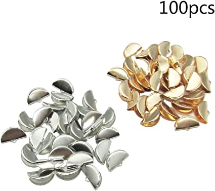 100 Pcs 2 Color Half Round Ribbon Crimps Cord End Caps Clasps Clamp Cord Cap Tip for DIY Jewelry Making 20mm