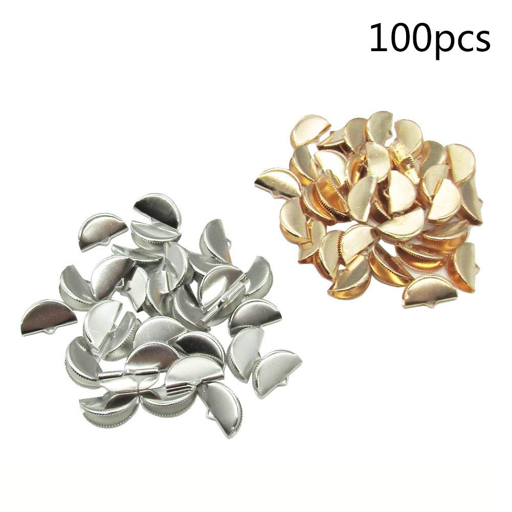 100 Pcs 2 Color Half Round Ribbon Crimps Cord End Caps Clasps Clamp Cord Cap Tip for DIY Jewelry Making (20mm) by Bonketonyer