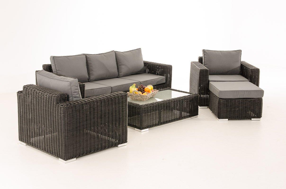 Mendler 3-1-1 Gartengarnitur CP053 Sitzgruppe Lounge-Garnitur Poly-Rattan ~ Kissen eisengrau, schwarz