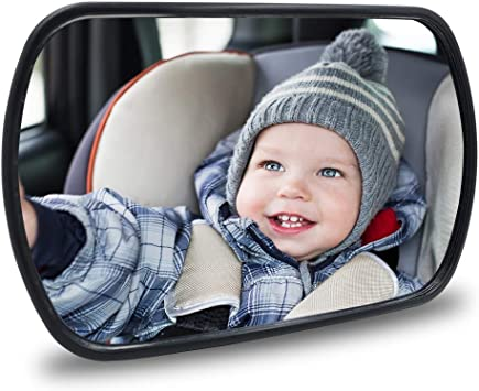 QIXI Baby Car Mirror Safety Car Seat Mirror for Rear Facing Infant with Wide Crystal Clear View Shatterproof Fully Assembled Best Newborn Safety with Secure Headrest Clamp Holder